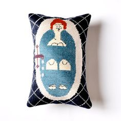 Needlepoint meets it's modern day maker. Lady In Bath Pillow now featured on Fab.