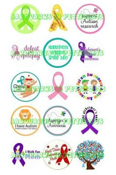 """Disease Awareness Ribbons 1"""" Round Digital Images on a 4""""X6"""" Collage Sheet"""