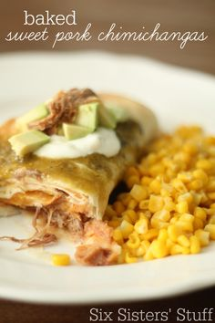 Baked Sweet Pork Chimichangas  | Some of the most amazing, flavorful pork all wrapped up and baked to make an awesome chimichanga!