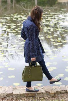 polka dot trench + riley slippers! | Dallas Wardrobe