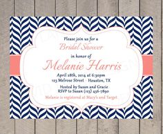 Bridal Shower Invitation Navy and Coral by VividLaneDesigns, $18.00