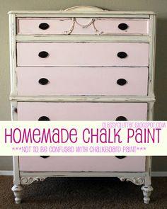 Homemade Chalk Paint Recipe and the cutest pink dresser ever! | www.classyclutter.net