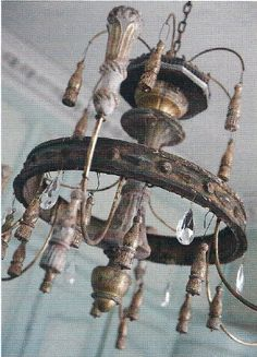 Love these crusty old chandeliers