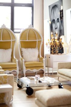 pair of yellow porter chairs