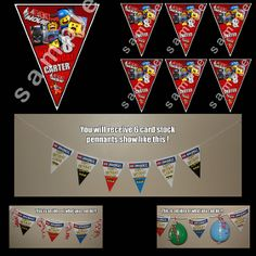 birthday parti, birthday banners, birthday invit, triangles, digital art, parti suppli, triangl pennant, parti idea, lego