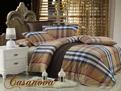 Coming Soon in King Size! Casanova Luxury Bedding by Dolce Mela - Classic Masculine Plaid Comforter Cover Duvet Set DM445K