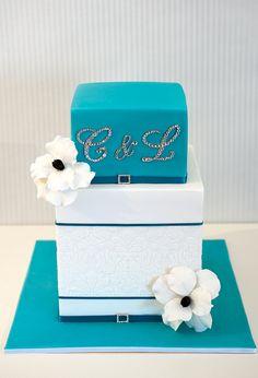 Teal and White wedding cake.