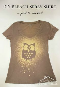 sprays, idea, craft, spray shirt, 10 minut, owl, t shirts, tote bags, bleach spray