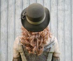 Rustic Bohemian Western Hat in Earthy Green Boho by Jaya Lee