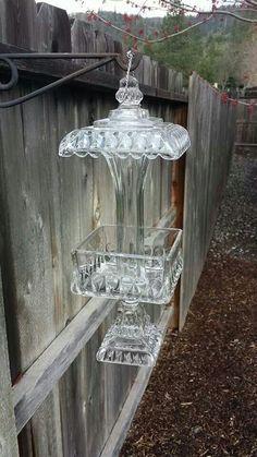 Glass bird feeder Www.facebook.com/singlemommymadness