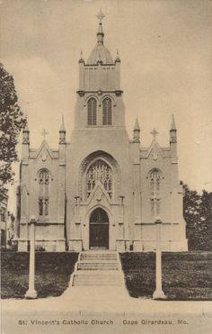 Old St. Vincent's, Cape Girardeau, MO, 1915.  St. Vincent's Catholic Church, Cape Girardeau, Mo. :: Postcard Collection