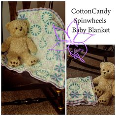 MNE Crafts: Cotton Candy Spinwheels Baby Blanket