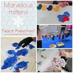 Marvelous mittens by Teach Preschool idea, preschool children, winter, mitten theme, classroom paint, marvel mitten, teach preschool, preschools, kid