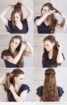 peinados paso a paso | Tutorial paso a paso, peinado sencillo para pelo largo y media melena