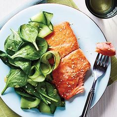 Salmon with Spinach Salad and Miso Vinaigrette | CookingLight.com