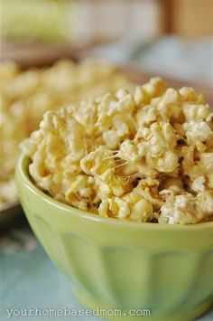 Marshmallow Popcorn - Quick, easy and doesn't stick to your fingers!    3 bags microwave popcorn, popped and unpopped kernels removed.    2 sticks of butter    16 oz bag of mini marshmallows    1 C brown sugar    Microwave butter, marshmallows, and brown sugar for 2 1/2 min. Take out and stir. Microwave again for 1 minute. Repeat until all is melted.    When done pour over popcorn and mix. YUM!