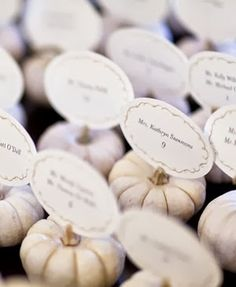 Decorating with Mini Pumpkins - escort cards  #wedding #decor #fall #pumpkin