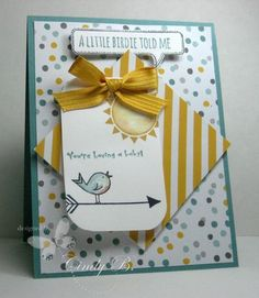 Cindy's cute card with a touch of watercoloring on the bird: Hello Love (hostess), Moonlight dsp stack, & more. All supplies from Stampin' Up!