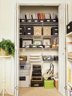 an organized office closet