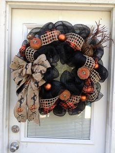 Halloween Deco Mesh Wreath Rustic Burlap Black by BellaAccents, $120.00