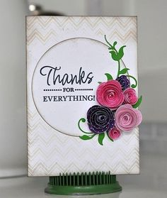Hello, gorgeous card by Charlene Austin! I would love to receive this one in the mail. Those flowers are so pretty! The words are from the Thank You stamp set from TechniqueTuesday.com.