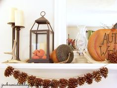 The JS Chronicles: Fall Mantle 2012 and a project: pinecone garland