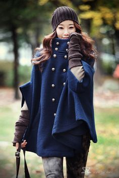 winter, blue, capes, sleev, jackets, cloak, trench coats, ponchos, fashion women