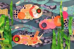 fish collage art club, bottle caps, plastic bottles, art project, slipper, sea, pop bottles, fish collag, eye