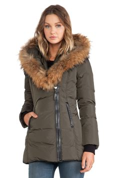 $690 Mackage Adali Jacket with Asiatic Racoon Fur Trim in Army