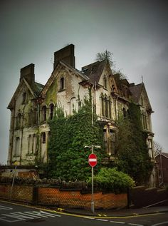 Danbert Hall in the County of Swansea, Wales - This large Victorian town house with three stories and attics is a grade two listed building, built in the 1880s for Daniel Edwards. But he never lived at Danbert Hall, for when the builder went bankrupt the house was not completed.