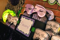 Adult Pajama party (zebra themed) favors