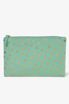 fashion, polka dots, accessori stuff, polka travel, green, clutches, travel accessories, accessori travel, bags