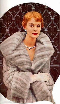 Silver mink fur coat