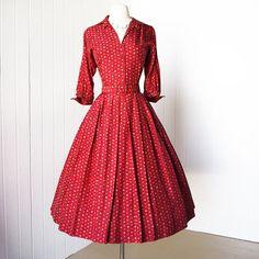 vintag vault, full skirts, fashion, vintag dress, style, 1950s dresses, vintag 1950s, prints, belts