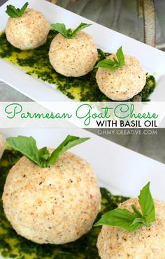 Parmesan Goat Cheese with Basil Oil  |  OHMY-CREATIVE.COM