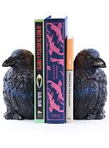 Unique / Fun home decor, clothing and jewelry from Plasticland, including these Nevermore Raven Bookends