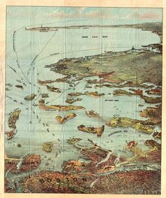 """18th century, """"bird's eye"""" map: looking southward from Boston. http://streetsofsalem.com/tag/maps/"""