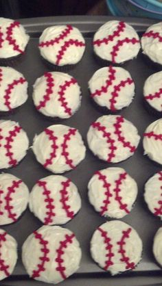 Baseball cupcakes -Aidan's birthday!