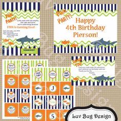 PRINTABLE  Shark Pool Birthday Party Collection- Printable invitation by Luv Bug Design. $28.00, via Etsy.