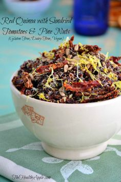 Red Quinoa with Sundried Tomatoes and Pine Nuts | TheHealthyApple | #glutenfree #dairyfree #vegan #recipe #healthy #quinoa