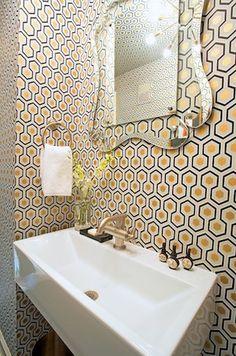 mirror, paper textur, small bathrooms, bathroom wallpaper, bathroom sinks, guest bath, kid bathrooms, interior decor, wallpaper patterns