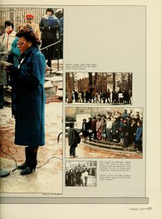 """Athena yearbook, 1985. """"Martin Luther King Day began with a benediction on the steps of the Class Gateway."""" :: Ohio University"""