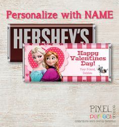 PERSONALIZED VALENTINE Frozen Candy Bar Wrapper, Disney Frozen, Valentine Candy Bar Wrapper, Frozen Candy Wrapper, Frozen Candy Wrapper on Etsy, $5.00