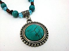 Turquoise and Brown Beaded Necklace with Turquoise Pendant
