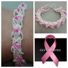*For Charity* Rainbow loom white with pink DIAMOND pattern with BEADS Breast Cancer Awareness bracelet - donating profit