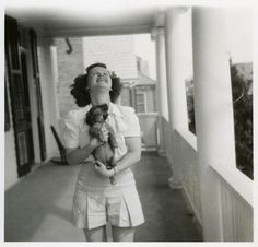 A girl and her dachshund - vintage photograph