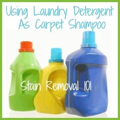 Pros and cons of using laundry detergent as homemade carpet shampoo for carpet cleaning machines {on Stain Removal 101} carpet shampoo, carpet cleaners, homemad carpet
