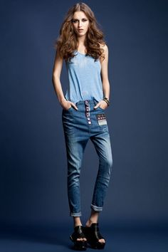 Jeans made of denim, featuring low waist, zipped closure to front, Harem styling, five pocket styling, all in slim fit.$96