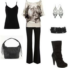 Black and white outfit.