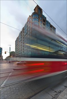 Streetcar on Spadina Street, passing in front of The Morgan.